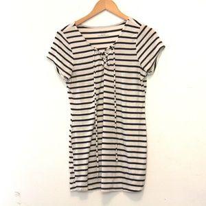 MOTHERHOOD Black & White Stripped Lace Up Shirt